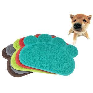 Fournitures pour chiens faciles à nettoyer pour animaux Tapis antidérapants Nourrissage Aliments Solides Couleur PVC Pad Chiot Patte Forme Chien Doux Napperon Chat Chat Bols DH0977