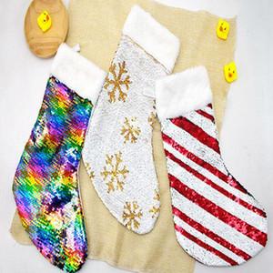 Döner Pullu çorap Noel Kar Çizgili Baskılı Sevimli Noel ağacı kolye Noel Cadılar Bayramı Şeker Çanta Noel Ev Dekorasyon WY149Q