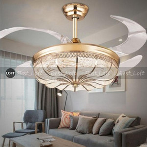 36   42 inch Gold Modern LED Retractable Ceiling Fans With Lights Living Room Home Decoration Folding Ceiling Fan Lamp 110   220 Volt