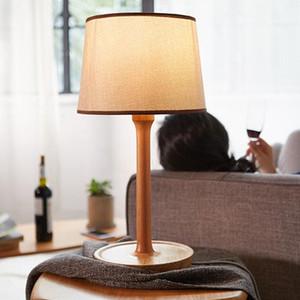 Lámpara de mesa tejido de madera E27 estudio habitación de hotel lámpara de escritorio mesa de noche moderna sencillez ilumina LR017