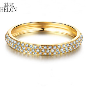 Helon 0.2ct 100% Genuine Diamantes Naturais Mulheres Moda Jóias Sólidos 14k Ouro Amarelo Elegante Cluster Noivado Anel de Casamento C19021501