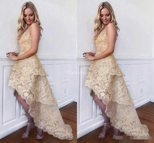 2019 Champagne Gold Lace Homecoming Dresses High Low Tiered Beaded V Neck Sleeveless Cocktail Graduation Party Prom Gowns Custom Made