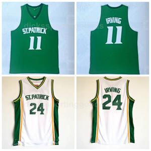 NCAA College ST Patrick 11 Kyrie Irving Maillots Hommes High School 24 Kyrie Irving Maillots De Basket-Ball Pas Cher Vert Équipe Blanc Livraison Gratuite