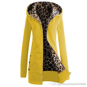 Plus Size Solid Color Long Womens Hooded Jackets Thick Leopard Print Ladies Coats Winter Warm Outewear Female Apparel