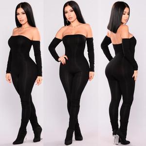 Jumpsuit Frauen weg Schulter Bodycon lange Hülse Clubwear Playsuit Overall-Spielanzug dünne reizvolle Overalls weiblich schwarze Hose