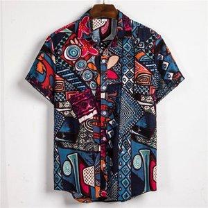Shirt Blouse Loose Fit Hawaii Vintage African Print Top Mens Ethnic Print Shirts Casual Hawaiian Short Sleeve Linen