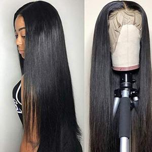 Top En Soie Avant De Lacet Perruque Droite De Cheveux Humains Naturel Noir Sans Colle Perruque Soyeux Longue Grande Moyenne Cap Taille Perruque Avec Bébé Cheveux