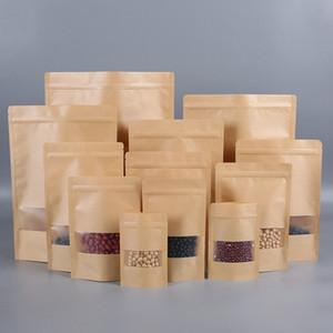 حقائب 11Size كرافت كيس ورقي الغذاء الرطوبة حاجز زيبلوك] ختم الحقيبة الغذائية التعبئة أكياس قابلة لإعادة الاستخدام الجبهة أكياس بلاستيكية شفافة