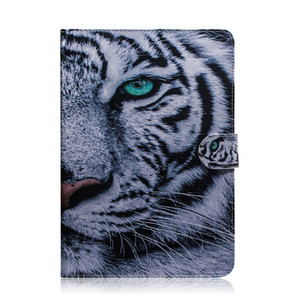 For Huawei Honor MediaPad T5 10.1 inch Tablet Case Flip Cover Stand Leather Wallet Coloured drawing Tiger Lion Owl Flower