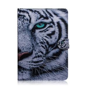 Para Huawei Honor MediaPad T5 10.1 pulgadas Funda para tableta Funda con tapa Soporte Cartera de cuero Dibujo coloreado Tigre León Búho Flor