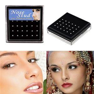 24pcs / set de cristal anel de nariz Studs inoxidável nariz aço cirúrgico Piercing colorido Rhinestone Moda feminina menina Body Jewelry