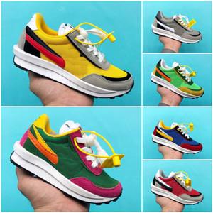 Nike X SACAI LD Waffle Кроссовки дети LDV вафли Sacai дети кроссовки мальчик девочка Родитель Ребенок Сосна зеленый синий обувь Eur28-35
