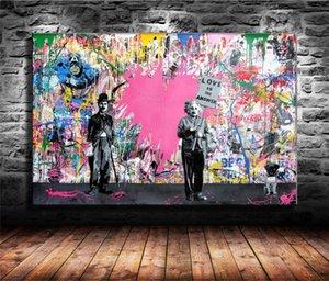 Г-н Brainwash, Juxtapose, HD Печать на холсте Новое Домашнее украшение Искусство Живопись / (Unframed / Framed)