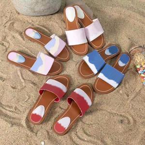 Designer Escale Blocco piatta Mule Donne Slipper brevetto Monogram Canvas di lusso scarpe blu delle signore del sandalo della spiaggia di estate di dimensioni Pantoufle diapositive 42