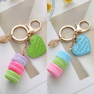 chain Cake Key Fashion love Macaron Leaf Key Chain Car Pendant Ring Holder Gift for Women Acessory EH135