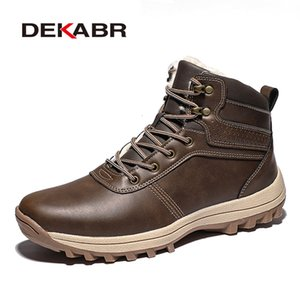 DEKABR 2019 Brand Winter Genuine Leather Ankle Snow Men Boots With Fur Plush Warm Men Casual Boots High Quality Waterproof Boots CJ191205