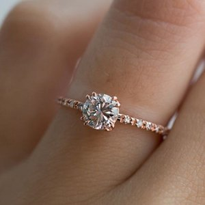 20200415 anel de Venda A Quente incrustado com zircão e banhado com ouro de rosa