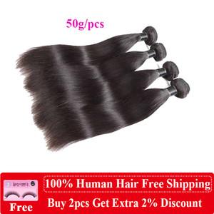 8a Brazilian Peruvian Body Wave Straight Hair Indian Human Hair Extensions Brazilian Straight Body Hair Weave Bundles 50g pcs