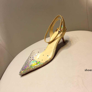 2020 latest crystal shoes fashion ladies high heels sexy ladies gold silver color diamond decoration transparent high heels party shoes