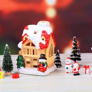 Fairy Christmas Snow House Статуэтки Крошка Garden Миниатюрные Смола Craft Micro Пейзаж Рождество Новый год Декор для дома