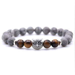 Classic Design Mens and Womens Best Gift 8MM Natural Bead Bracelet Antique Sliver Plated Alloy Owl Charm Bracelet