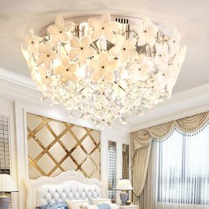Crystal chandelier lighting white flowers crystal round chandelier lamp led ceiling chandeliers lights for bedroom balcony