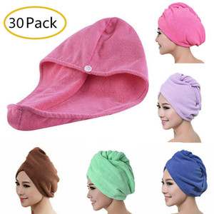 30 Pack Microfiber Quick Dry Shower Hair Caps Magic Super Absorbent Twist Dry Hair Towel Drying Turban Wrap Hat Spa Bathing Caps