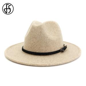 FS Beige Blanc Jazz Laine Fedora Hat pour Hommes Femmes Leopard Grain feutre large Brim plaine Felted Woollen porc Trilby formelle Pie Cap T191112