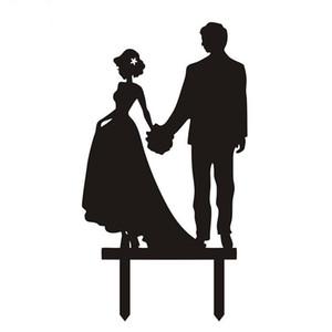 Çok Stilleri Siyah Akrilik Düğün Pastası Bayrak Topper Düğün Yıldönümü Partisi Pişirme Için Gelin Kek Bayrakları Dekor Malzemeleri