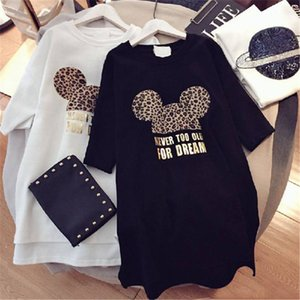 Womens Designer T shirts Brand Dresses with Animal Lovely Mouse Fashion New Arrival Summer Dress Women Short Sleeve Long Tee Dress M-XXL-DN2