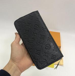 Оптовый держатель карты розовый красный черный рельефный леди длинный бумажник многоцветной дизайнер монета кошелек оригинальный коробка женщин 2020 бесплатная доставка классический