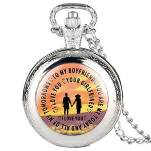 "Exquisite Loving Black Pocket Watch,Special""To My Boyfriend""Paster Classic Special Necklace Quartz Pendant Watch Gift for Love ones"
