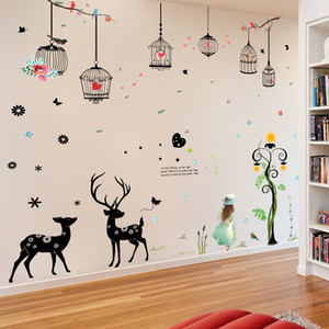 ¶New street lamp girl elk bird cage stickers living room children room background paper art poster wall stickers