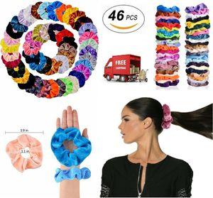 Haar Scrunchies Velvet Elastics Haar-Riegel Scrunchy Bands Krawatten Seile Geschenke 46 Pcs