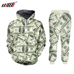UJWI 3D Harajulu New Funny 3D money pattern 100 dollar print sweat suits sweatshirt+sweatpants women men joggers sportsuits 7XL T200704