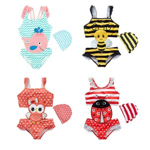 2019 New Baby Girl Swimwear with Swim Hats Cartoon Swimsuit Swimming Beach Bathing Bikini Cute Summer One-piece Swimming Costume Y200704