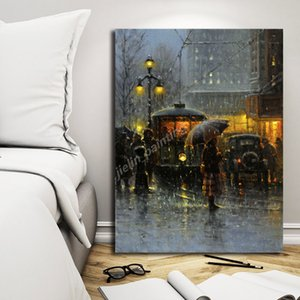 Landscape Artwork Night Rainy Street Mood Poster Painter Paintings On Canvas Modern Art Decorative Wall Pictures Home Decoration