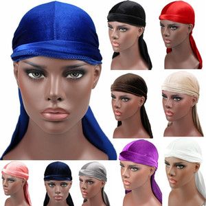 12 Colors New Unisex Men's Velvet Durags Bandana Turban Hat Wigs Doo Durag Biker Headwear Headband Pirate Hat Hair Accessories