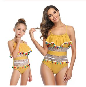 Mother Daughter Swimsuit Striped Mommy And Me Swimwear Family Matching Outfits Summer New One-Piece Mom And Baby Bathing Suits