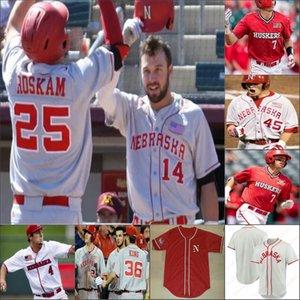 Nebraska Cornhuskers costurado NCAA Baseball Jersey 24 Aaron Palensky 39 Mojo Hagge 44 Bo Blessie 7 Angelo Altavilla Alex Gordon