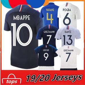 Fransa 2018 MBAPPE Pogba 2 yıldızlar Formalar 2019 100. yıldönümü Futbol Jersey Griezmann Erkekler + Çocuklar Futbol Gömlek maillot de foot