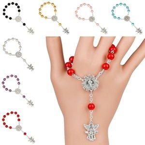 2020 New Silber Engel Anhänger Rosenkranz Armbänder Religion Schmuck für Frauen Art und Weise katholischen Jesus Acryl-Korn-Armband-Geschenk-7 Farben L105FA