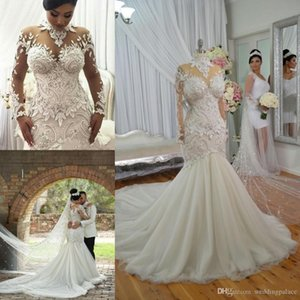 2020 Newest Lace Mermaid Wedding Dresses High Neck Long Sleeve Tulle Applique Button Back Bridal Wedding Gowns Bride Dresses