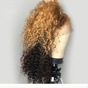 Highlight Ombre Honey Blonde 13X6 Deep Part Lace Front Human Hair Wigs Preplucked Remy Curly 360 Lace Frontal Wig