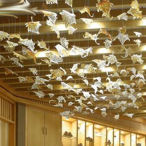 Vetro di Murano Foglia Lampadario Lampade Art Glass Alta luce a soffitto di grandi dimensioni Lobby Hotel Restaurant Fogliame Chandelier Lighting