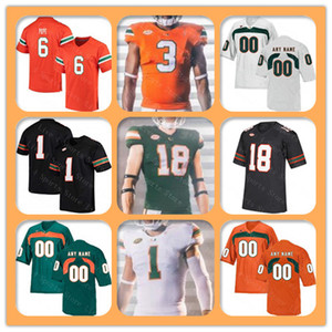 Individuelle 2019 Ncaa Miami Hurricanes College Football Jerseys 18 Tate Martell 5 N'kosi Perry 12 Malik Rosier 20 Reed Robert Burns Green Men