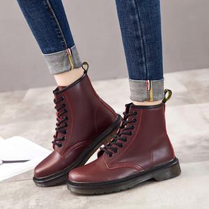 QUANZIXUAN echtes Leder Frauen Stiefel Knöchel Winter-Arbeit Safeti Stiefel Fest Ankle Boots Female Punk Frauen Schuhgröße 46