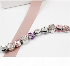 Fashion 925 Sterling Silver Pink & Purple Sparkling Drops Flower Bracelet Crystal European Charm Beads Fits Pandora Charm Bracelets & Bangle