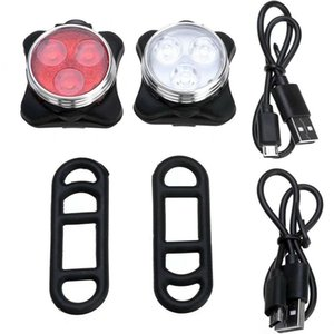 White Front Light + Red Tail Light Bike Lamp 3L-ED USB Clip Lamp Outdoor Mountain Cycling Bike Safety Accessories