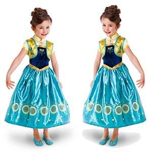 اللباس الملكة فساتين الأميرة فتاة تأثيري الملابس الأداء ملكة الثلج ثوب حزب الرباط لعيد الميلاد هالوين تأثيري الدعامة NEW GGA3405
